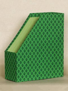 Green Block Print Fabric Magazine Holder