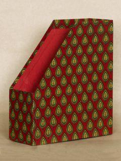 Rose Block Print Fabric Magazine Holder