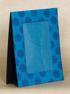 Blue Block Print Fabric Photo Frame
