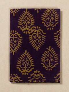 Wine and Yellow Block Print Fabric Passport Holder