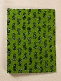 Leaf Green Block Print Fabric Ring File