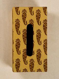 Mustard Block Print Fabric Tissue Box