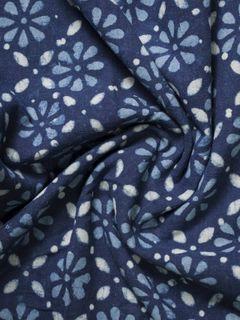 Indigo Dabu Block Print Cotton Fabric