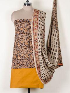 Multicolor kalamkari block print cotton dress material With Dupatta