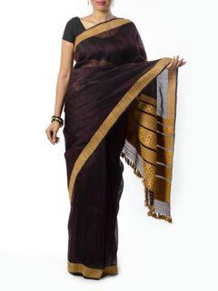 Brown Muga Silk saree