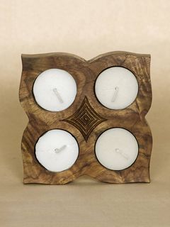 Square Wooden Tea Light Tray
