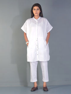 Smoke White Kent Linen Shirt