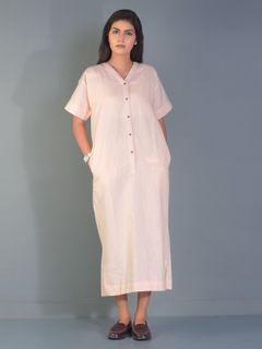 Peach Mason Linen Maxi Dress
