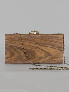 Rectangle Brown Wooden Clutch