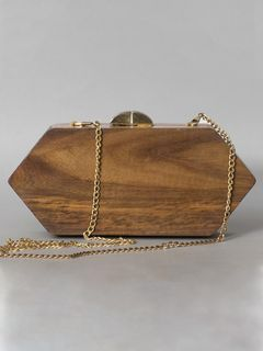 Six-Sided Brown Wooden Clutch