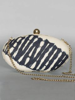 Oval Denim Wooden Clutch