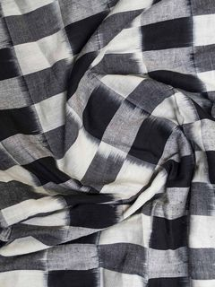 Black and White Ikat Cotton Fabric