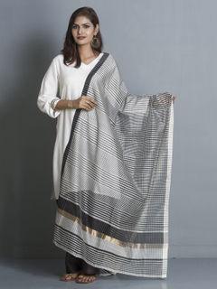 Grey Stripes Maheshwari Cotton Dupatta