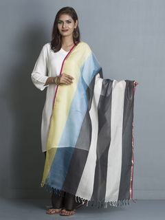 Multicolour Stripes Maheshwari Cotton Dupatta