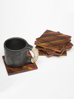 Brown Red Wooden Coaster- Set of 6