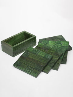 Green Wooden Coaster- Set of 6