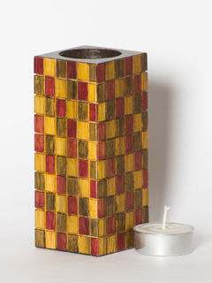 Brown Yellow Wooden Tea Light Holder