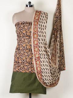 Multicolor kalamkari print cotton dress material With Dupatta