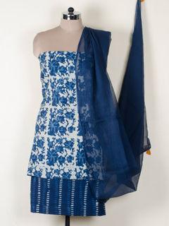 Indigo cotton dress material With Dupatta