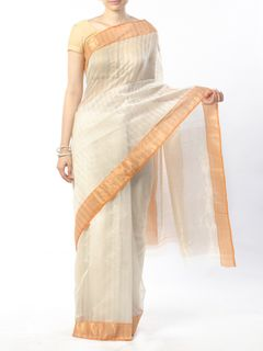 Off White Chanderi Saree with Zari Border