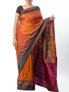 Orange Tanchoi Saree
