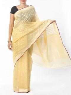 Lemon Yellow Cotton Silk Saree with Zari Border