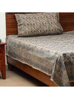 Indigo Kalamkari Bedsheet With One Pillow Cover
