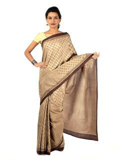 Pale brown blockprinted silk saree