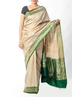 Off White Tussar Silk Saree with Green Zari Border