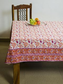 Sangria Oasis block print 8 seater table cover