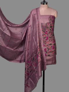 Purple Tussar Silk Unstiched Dress Material