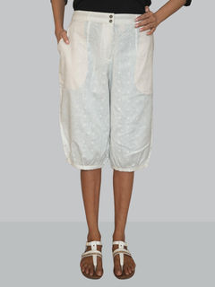 White solid linen short-bottom