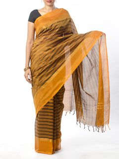 Mustard Striped Cotton Silk Saree