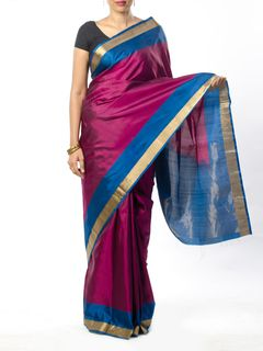 Purple Silk Saree with Zari Border