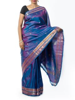 Blue Zari Work Silk Saree