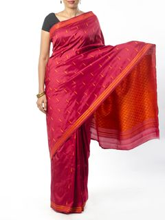 Maroon Silk Saree with Resham Work