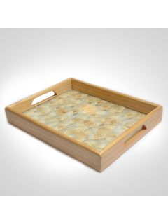 Off White Natural Flower Glass Tray