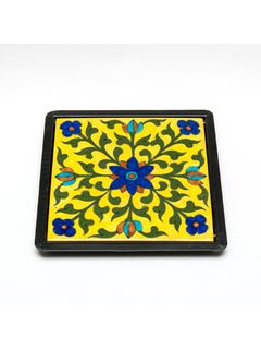 Yellow Ceramic Table Trivet - 6 X 6 Inches