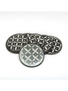 Black Ceramic Coasters - Set of Five - 3.5 Inches Diameter
