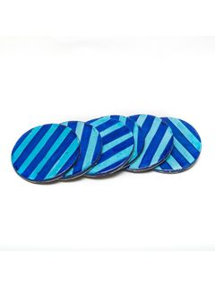 Sea Blue Ceramic Coasters - Set of Six - 3.5 Inches Diameter