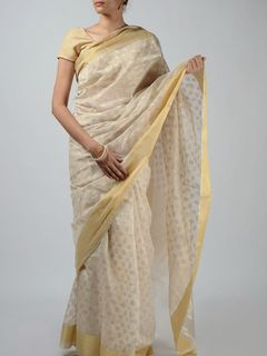 Off-White Chanderi Saree with Zari Work