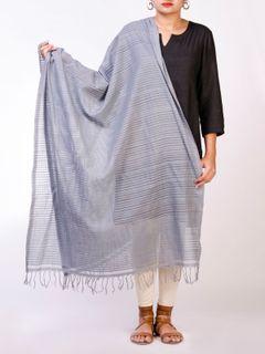 Grey Mangalgiri Handloom Cotton Dupatta