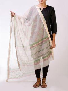 Off White Block Print Cotton Maheshwari Dupatta