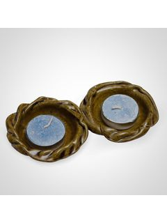 Green Ceramic Flower Diya Holder  - Set of Two