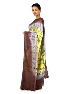 Rosewood Handpainted  silk Saree