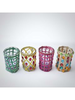 Glass Candle Holder - Assorted Colors-Set of 4