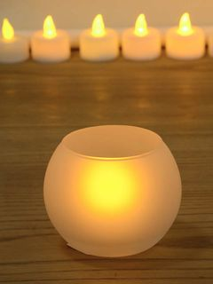 White Glass Candle/Diya Holder - 3 x 2.5 Inches