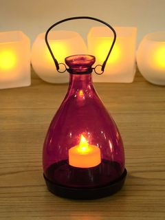 Magenta Amber Glass Vintage Lantern (with flameless tea-light candle) - 3 x 4 Inches