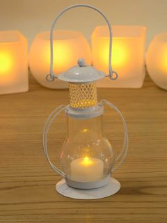White Amber Glass Vintage Lantern (with flameless tea-light candle) - 2 x 4 Inches