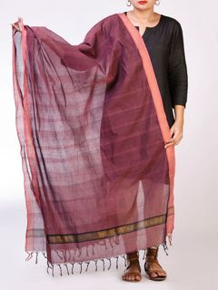 Wine Cotton Handloom Cotton Dupatta